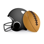 sport helmet with rugby ball